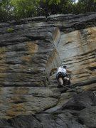 Rock Climbing Photo: About the head up the clean dihedral.