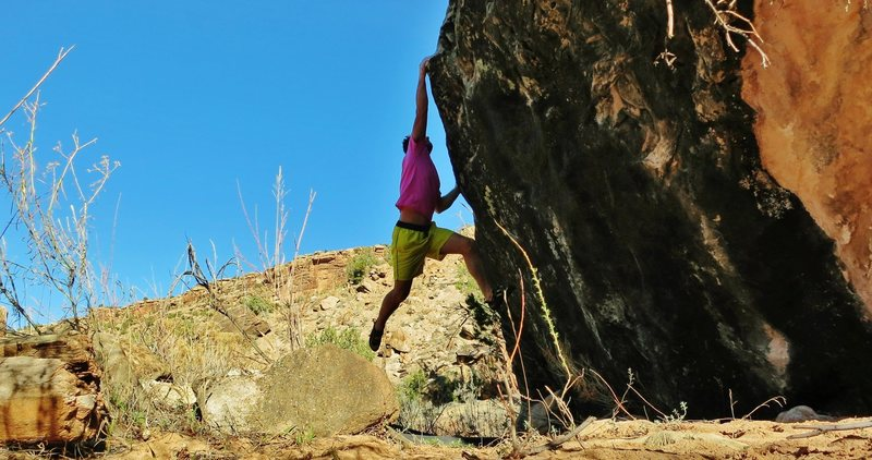 Rock Climbing Photo: Sticking the dyno on Fight The Sky.