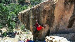 Rock Climbing Photo: Settling on the heel on Social Math.