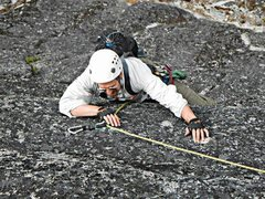 Rock Climbing Photo: Mr T crux of pitch 2.