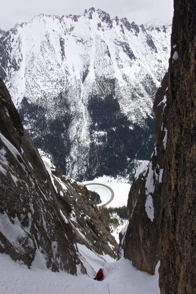 Rock Climbing Photo: Looking down just after climbing past the crux cho...