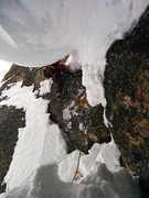 Rock Climbing Photo: Aiding over the cornice