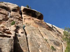 Rock Climbing Photo: Me leading The Inchworm.