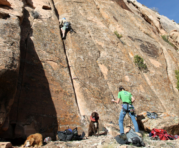 Rock Climbing Photo: Me belaying Mike Santoro on lead up The Inchworm.
