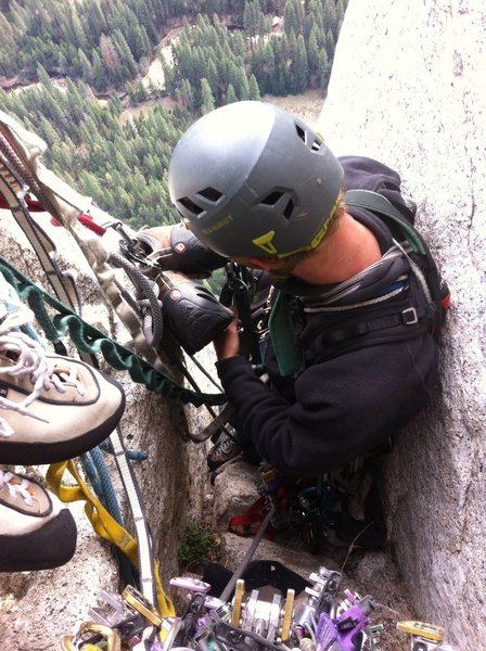 Rock Climbing Photo: The chimney belay at te top of P8. By far the most...