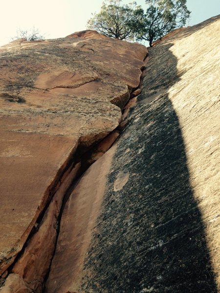 Rock Climbing Photo: East-facing crack on Wolcott Navajo Band (West).