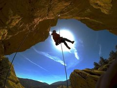 Rock Climbing Photo: Chad Parker Rapping into Lesson Learned 5.11a