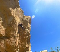 Rock Climbing Photo: Jeff Constine stemmed out at the third bolt on Les...