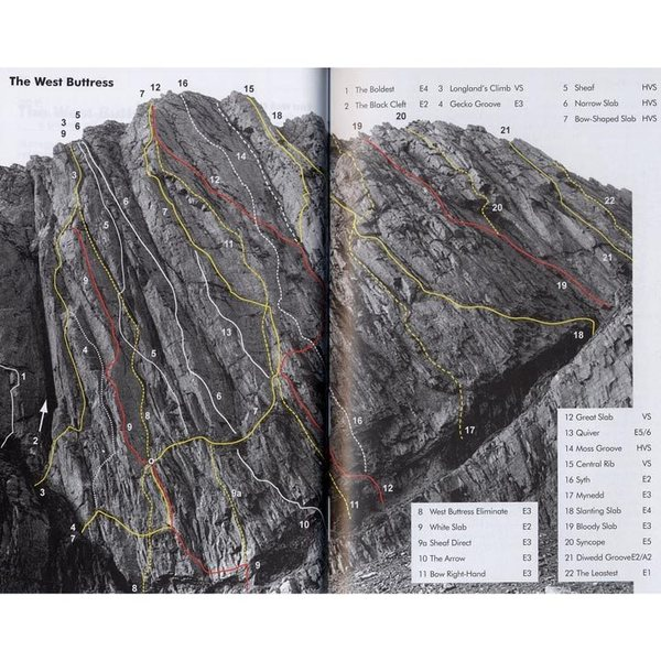 West Buttress with routes.