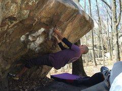 Rock Climbing Photo: Mario M starting the classic boulder problem.