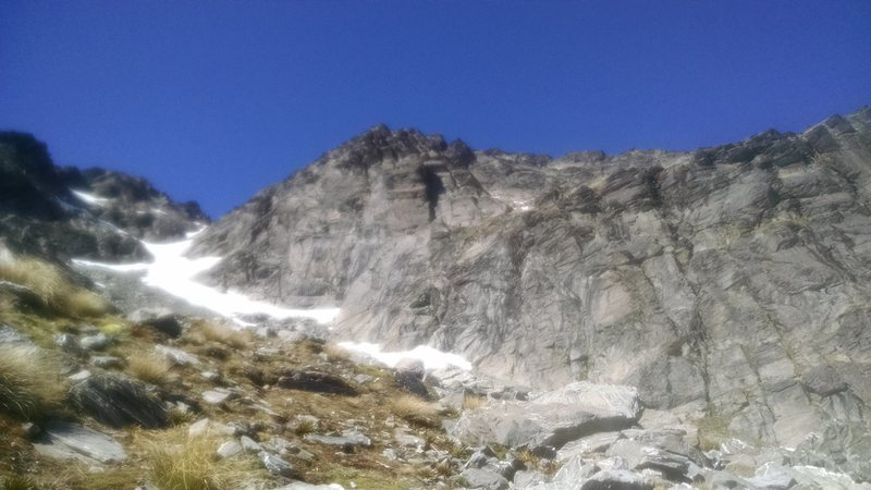 Crap photo of the toe of Double Cone with Lake Alta Slabs on the right