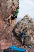 Rock Climbing Photo: Joe Mitchem on A Classy Dyno.