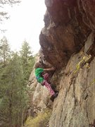 Rock Climbing Photo: Katie Kelble (10 yrs old) pulling through the crux...