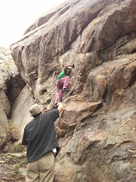 Katie Kelble gets the beta from first ascentionist Chuch Fitch.