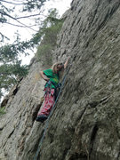 Rock Climbing Photo: Katie Kelble on the sharp end at age 10 in her pjs...