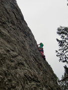 Rock Climbing Photo: The upper half of the route.  Katie - age 10.