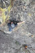 Rock Climbing Photo: Adam Huxley about to start the crux sequence on Zi...