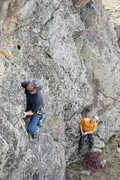 Rock Climbing Photo: Adam Huxley starts up pitch 2 of Zion Train; Josh ...