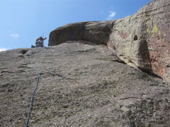 Rock Climbing Photo: Around the 2nd-3rd pitch, heading up the slab, jus...