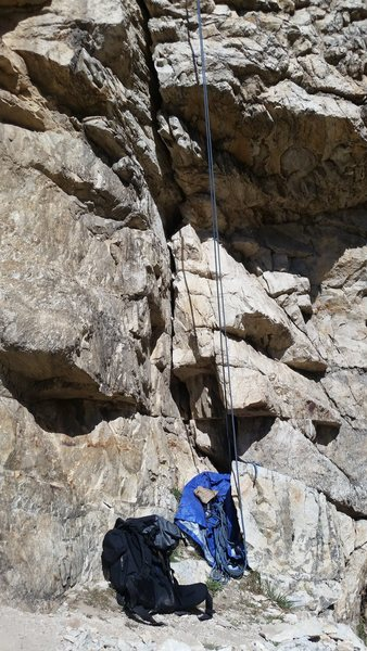 Rock Climbing Photo: A picture of the crack of the route, eventually it...