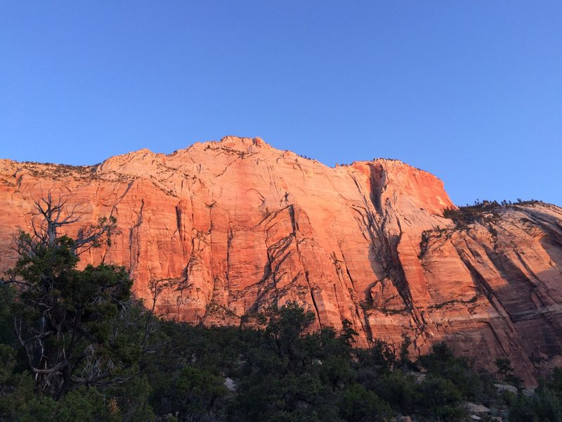 The massive 2,300' southeast face of West Temple