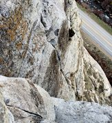 Rock Climbing Photo: Looking down the route from the top of the third p...