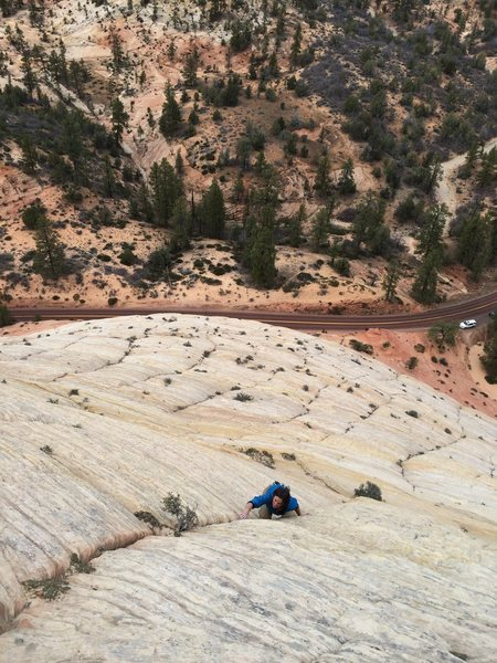 Rock Climbing Photo: Josie McKee soloing high on Wheat Chex