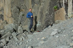 Rock Climbing Photo: The start of the North Face Standard Route marked ...