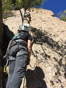 Rock Climbing Photo: belaying JP on Miss Pacman