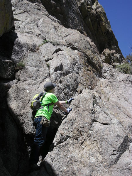 """Ingraham's step is the crux of the normal route, unless you take Ingraham's """"easy 3rd class gully"""" instead."""