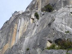 Rock Climbing Photo: climber on the South Face (center)