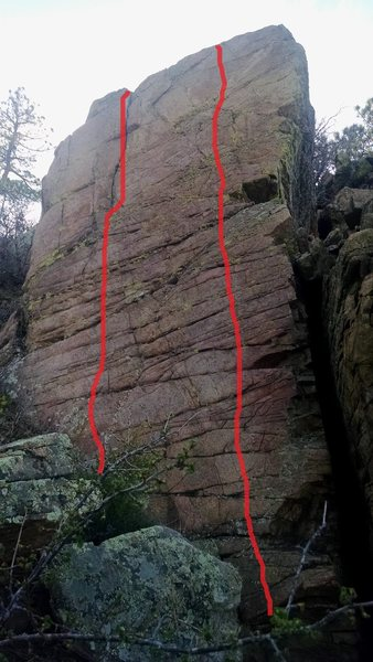 L to R: V1, V1+.  The right route is slightly more crimpy.