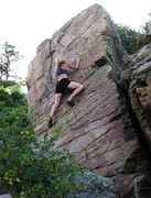 Rock Climbing Photo: The left side of the face is V1. Veering to the ri...