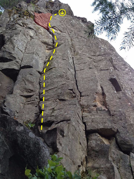 Rock Climbing Photo: Detached blocks are highlighted in red.