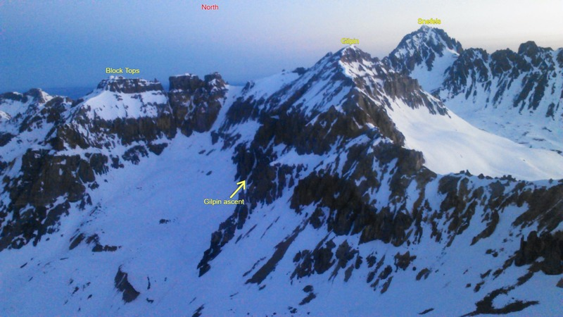 Gilpin just right of center and Sneffels behind. Block Tops on the left.<br>