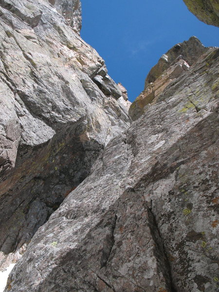 Rock Climbing Photo: The start of P3. We climbed this short wall then v...