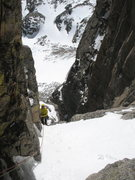 Rock Climbing Photo: Leaving the top of P2. Above the steep chock stone...