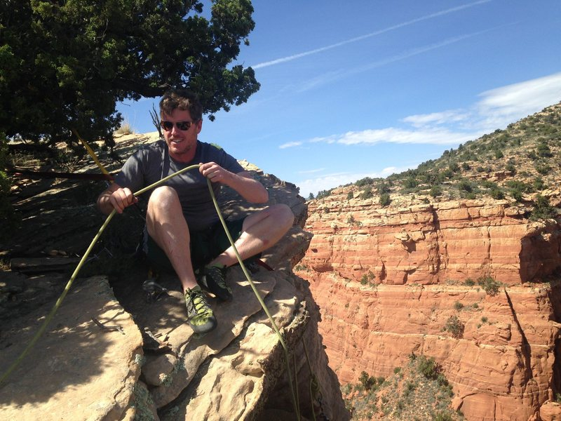 Matt on Summit, slung juniper belay.