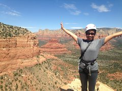 Rock Climbing Photo: Arlene on top.