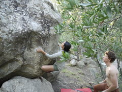 Rock Climbing Photo: Yuling perched staring down the sloper and Andrew ...
