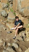 Rock Climbing Photo: smiling terribly with the sun in my eyes.  23rd bi...