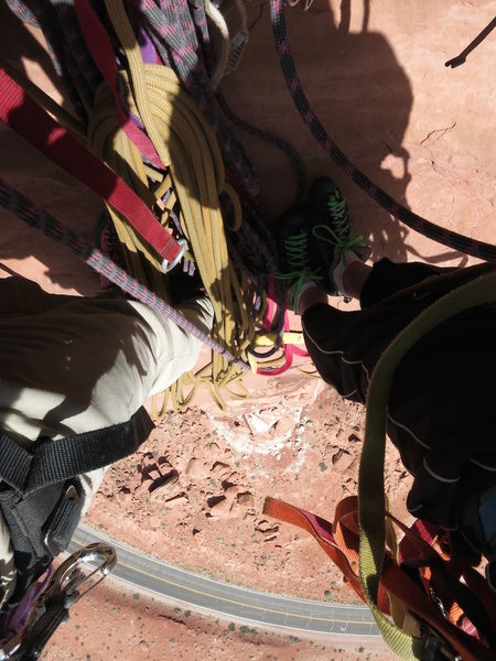 "Looking down from the final belay ""ledge""."