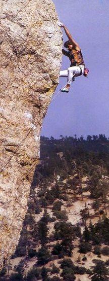 Tom Gilje high above it all, Williamson Rock <br> <br> Photo by John Mireles