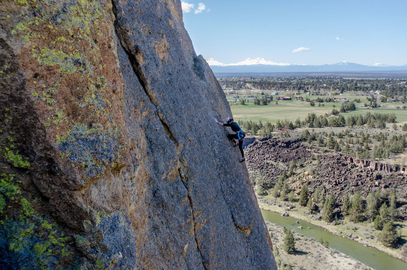 The fourth pitch of Wherever I May Roam at Smith Rock.