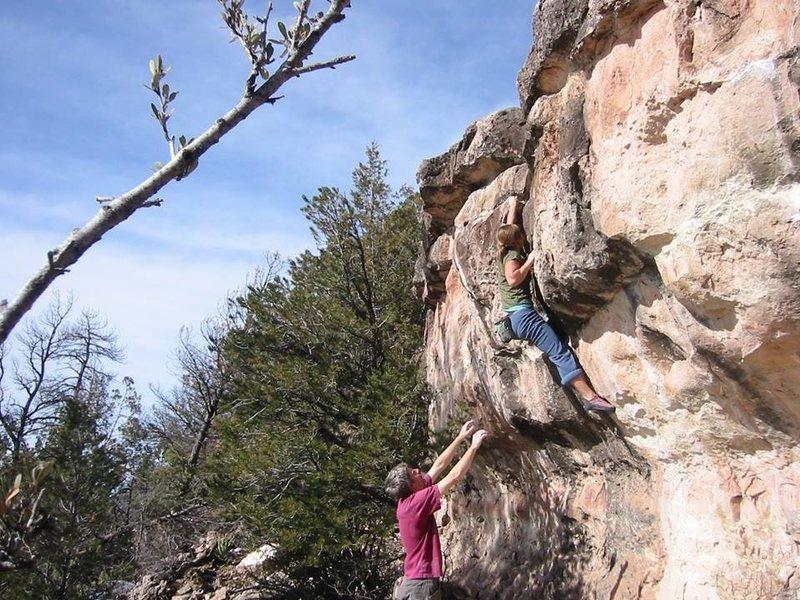 Rock Climbing Photo: Lori finishing Pickpocket.  BVB photo
