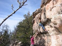 Rock Climbing Photo: Lori finishing Pickpocket.  BVB photo
