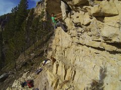 Rock Climbing Photo: Carl wrestles the flake.