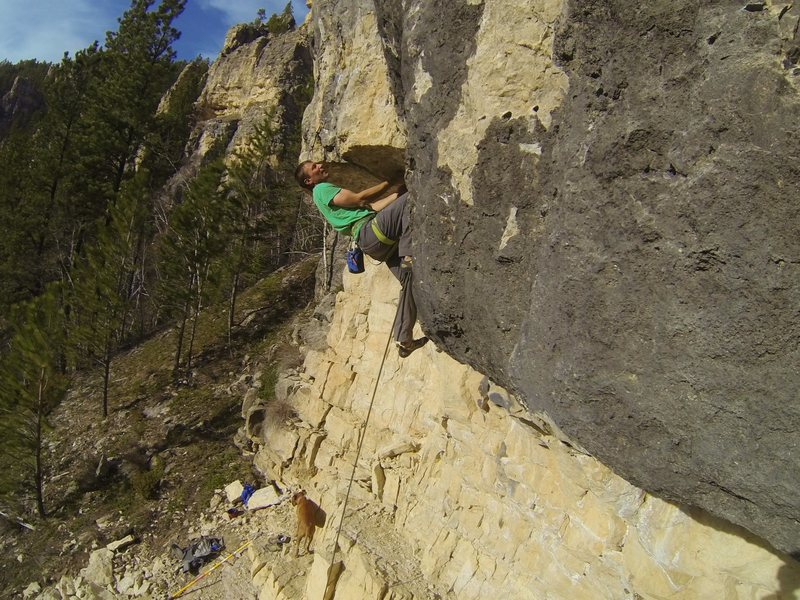 Rock Climbing Photo: Carl cranks over the roof!