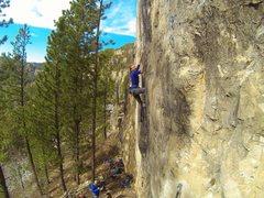 Rock Climbing Photo: Cali sending Big Train, 5.13a