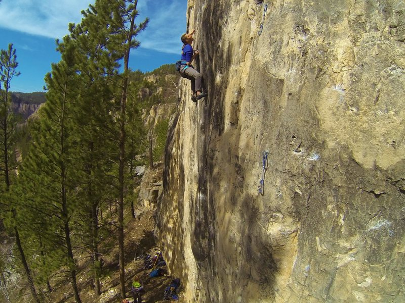Rock Climbing Photo: Cali sending Big Train, 5.13a  Iron Horse Wall. Bl...